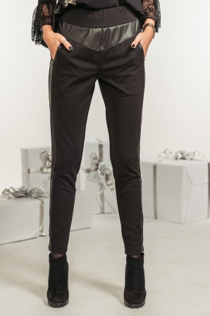 Black trousers with a side leather band Avangard