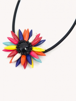 Women's colorful flower necklace F-001