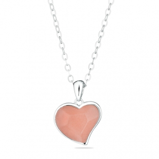 Silver Necklace with heart shape pink coral GL1657N Swan