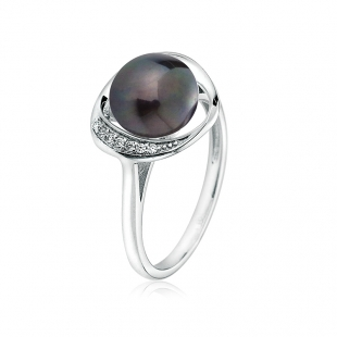 Silver ring with natural black pearl and zirons LA924RB Swan