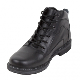 Men's black leather boots with warm lining 32801