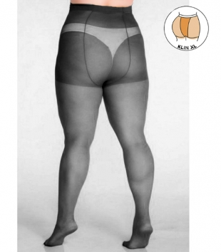 Plus size black tights 40 DEN with additional band LIDA