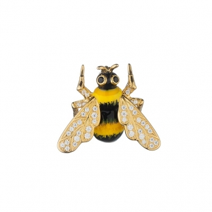 Silver and gold bee brooch with zircons Swan