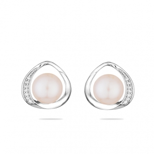 Silver earrings with natural white pearl and zirons LA924EW Swan