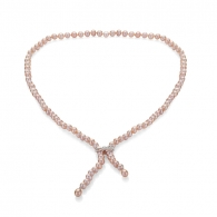 Freshwater pink pearls necklace 7-8mm and silver ribbon R7L80NP Swan