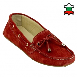 Women's red leather mocassins 32974
