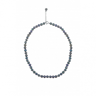 Fresh water black pearl necklace  6,5-7mm and zircons R0488NB Swan