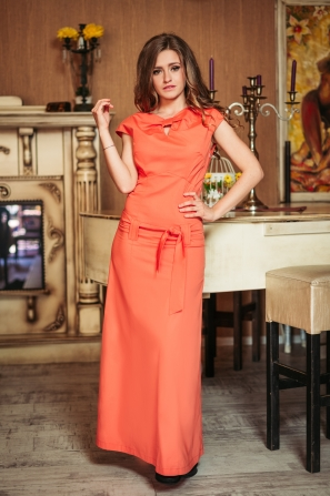 Long dress in coral color with a ribbon on the neckline Avangard