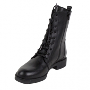 Women's black leather boots 20424