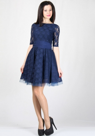 Blue lace dress with tulle underskirt RUMENA