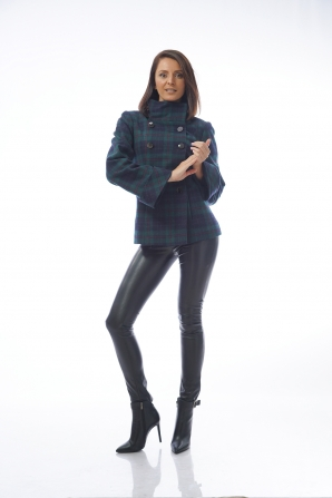 Women's short coat in blue and green with cuff 12002-T28