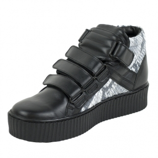 Women's black and snak print  leather trainers with velcro straps 20595