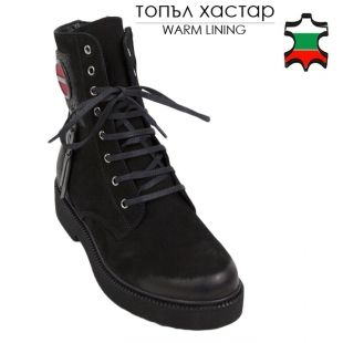 Women's black nubuck leather boots with warm lining 20675