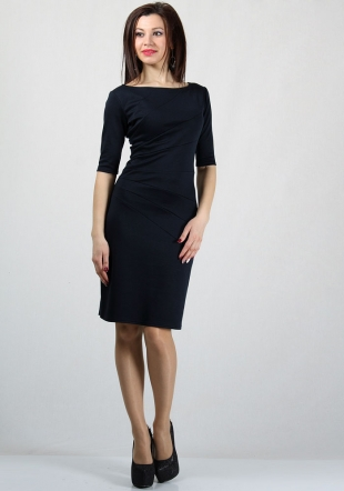 Women's dark blue dress with sun ray elements RUMENA