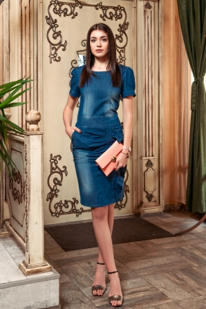 Denim dress with short sleeves and skirt set Avangard