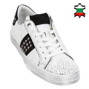 Men's white trainers with black suede leather 33703