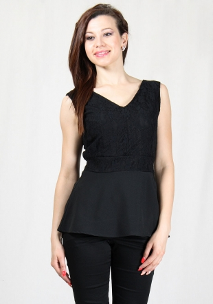 Evening  black V-neck top with lace and asymmetric peplum RUMENA