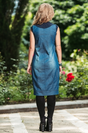 Sports denim dress with colored collar Avangard