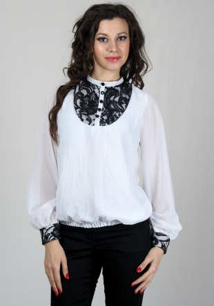 Chiffon top with lace elements RUMENA