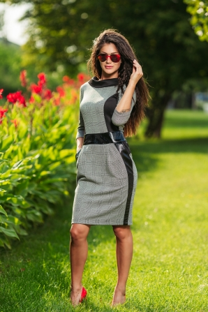 Dress with leather elements and pockets Avangard