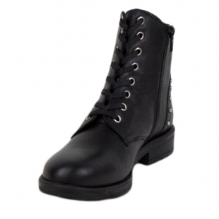 Women's black leather boots with studs on the heels 20423
