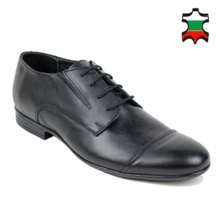Men's black leather evening shoes with patch