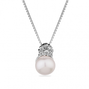 Silver necklace with natural white pearl and zirons CAA026N Swan