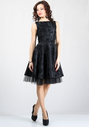 Women's dress with flock flowers taffeta RUMENA