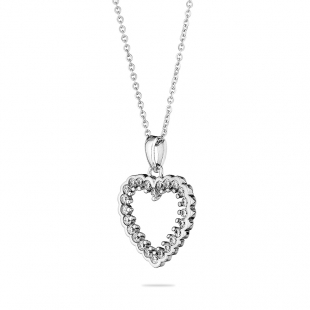 Silver heart pendant necklace with zircons END034N Swan