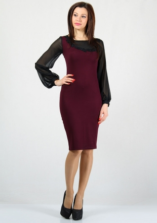Women's bordeaux dress with chiffon and lace elements RUMENA