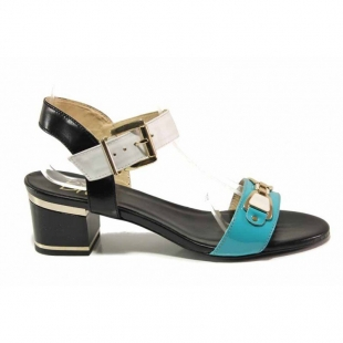 Women's anatomical sandals made of genuine leather in blue, black and white on low heel 21279