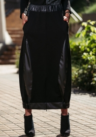 Long women's skirt with leather accents Avangard