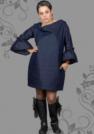 Maxi denim dress with wide sleeves ILINA Fashion