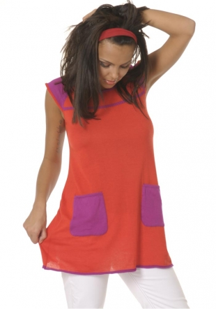 Purple pockets red tunic Z-09