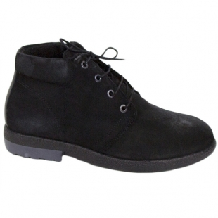 Women's black suede leather boots with warm lining 20442