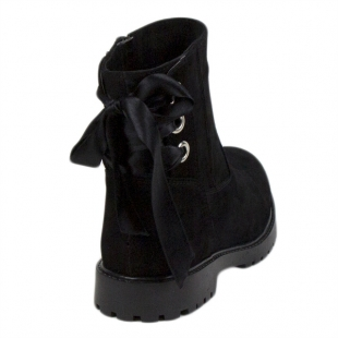 Women's black suede leather boots with ribbon  20414