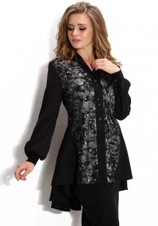 Women's black tunic with silver front Avangard