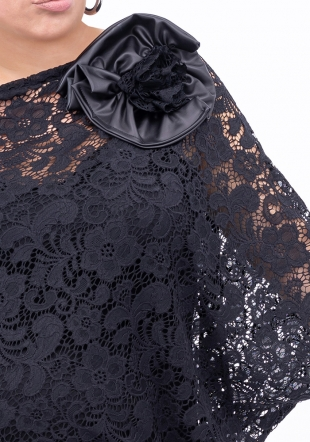 Elegant black maxi lace dress Ilina