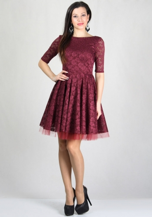 Evening bordeaux lace dress with wide skirt with belt RUMENA