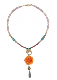 Orange Dream Necklace With Real Rose, Cloisonne Beads, Pearls and Swarovski Crystals Dannyra Jewels