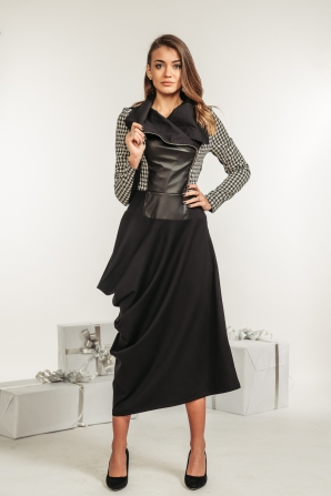 Black women dress with leather front and asymmetric skirt Avangard