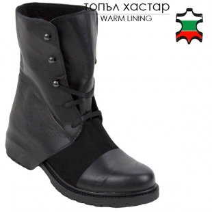 Women's black leather and suede leather boots 20447