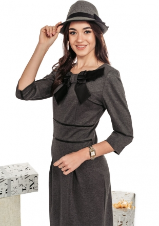 Neat formal dress in gray with ribbon decoration Avangard