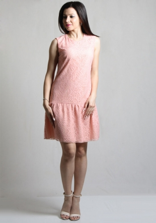 Women's coral lace dress with flounce RUMENA