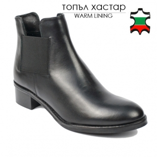 Women's black leather low heels boots with side elastics 20458