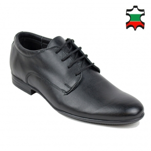 Men's black leather evening shoes with ties