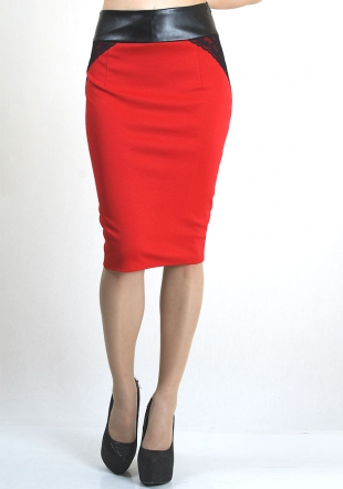 Red elegant skirt with elastic leather belt and lace details RUMENA