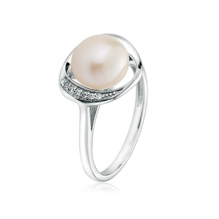 Silver ring with natural white pearl and zirons LA924RW Swan
