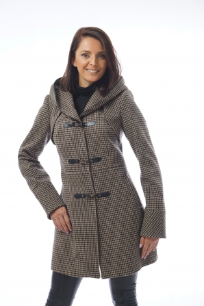 Women's coat with leather fasteners and hood Radeks