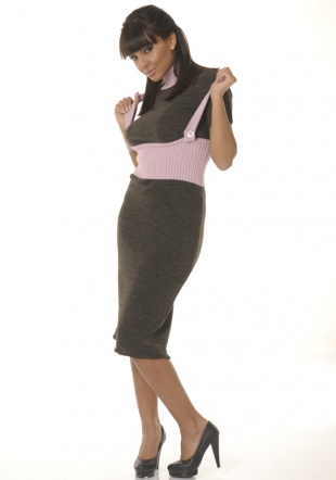 Set-pink and brown dress and sleeveless top Z-09/10